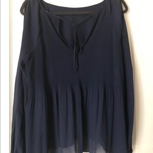Navy cold shoulder blouse